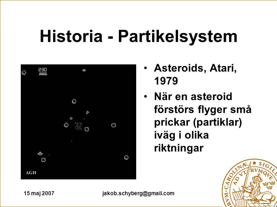 15 maj 2007jakob.schyberg@gmail.com Historia - Partikelsystem Asteroids, Atari, 1979 När en asteroid förstörs flyger små prickar (partiklar) iväg i olika riktningar