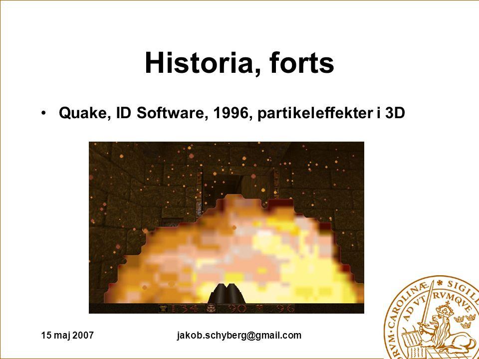 15 maj 2007jakob.schyberg@gmail.com Historia, forts Quake, ID Software, 1996, partikeleffekter i 3D