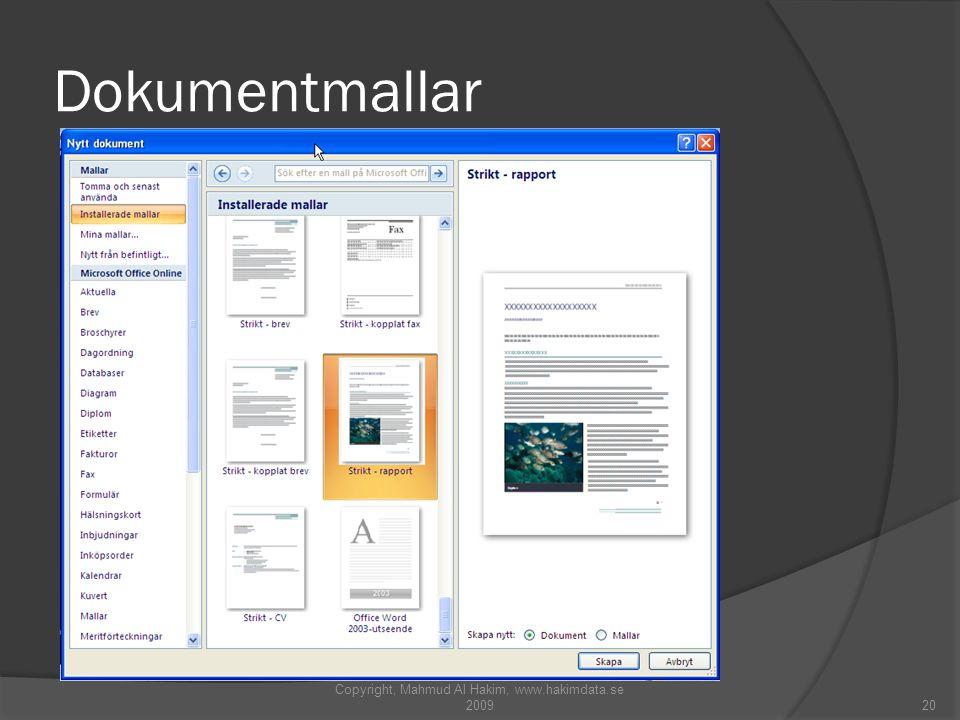 Dokumentmallar Copyright, Mahmud Al Hakim, www.hakimdata.se 200920