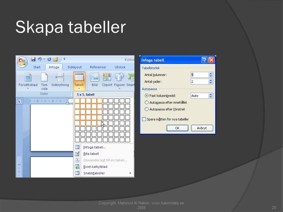 Skapa tabeller Copyright, Mahmud Al Hakim, www.hakimdata.se 200925