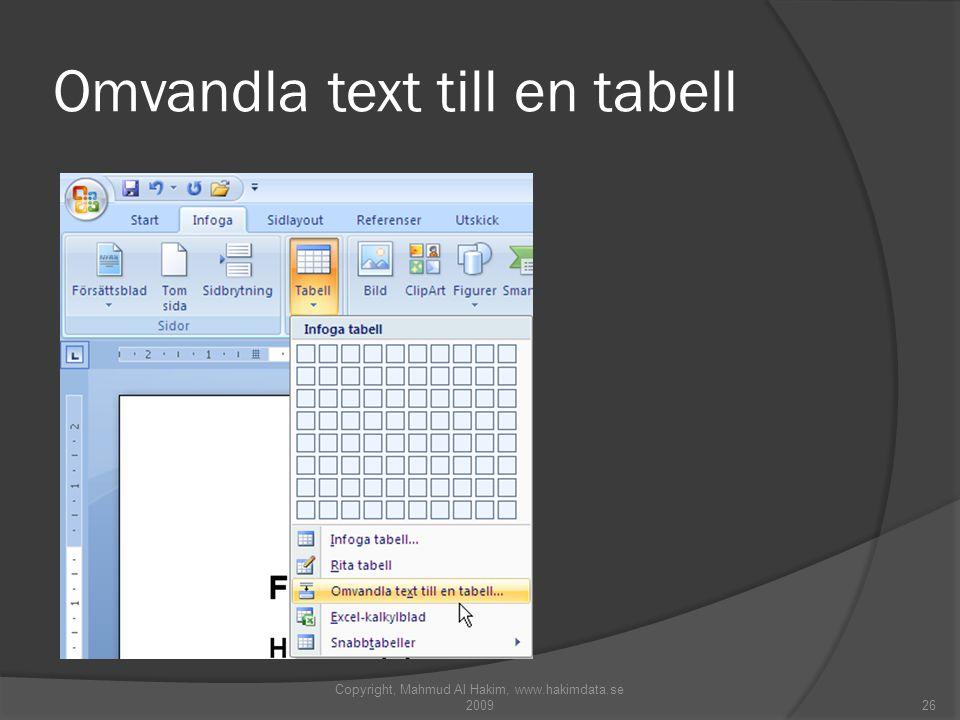 Omvandla text till en tabell Copyright, Mahmud Al Hakim, www.hakimdata.se 200926