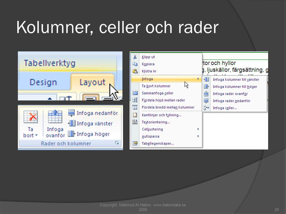 Kolumner, celler och rader Copyright, Mahmud Al Hakim, www.hakimdata.se 200929