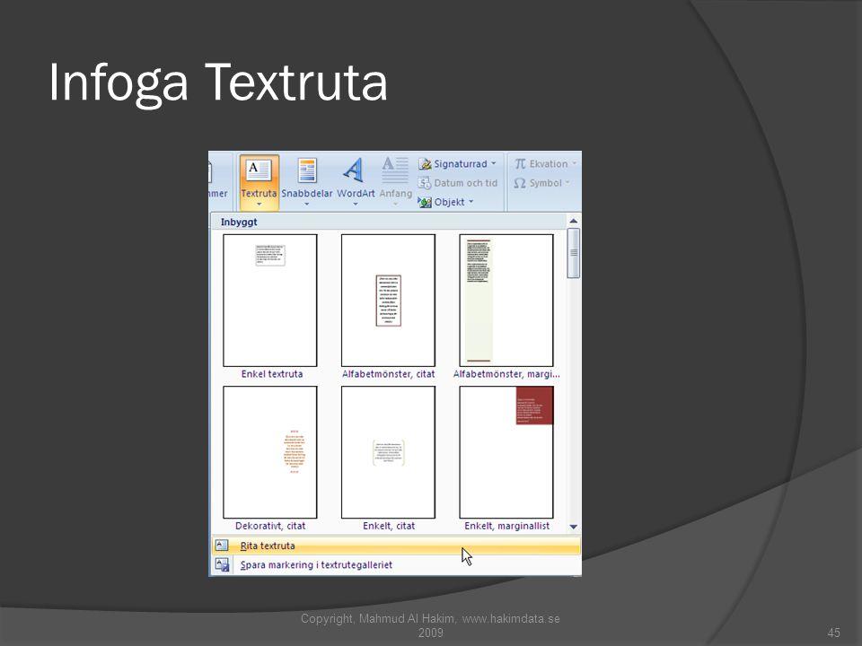 Infoga Textruta Copyright, Mahmud Al Hakim, www.hakimdata.se 200945