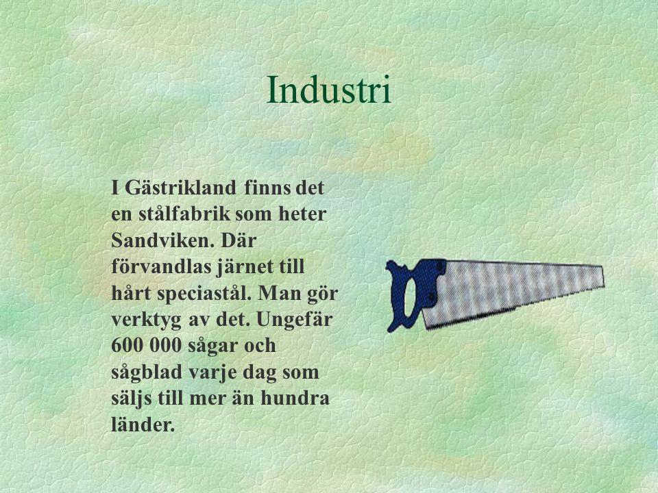Industri I Gästrikland finns det en stålfabrik som heter Sandviken. Där förvandlas järnet till hårt speciastål. Man gör verktyg av det. Ungefär 600 00