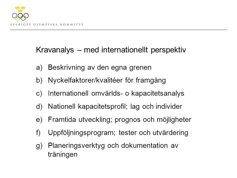 Kravanalys – med internationellt perspektiv a)Beskrivning av den egna grenen b)Nyckelfaktorer/kvalitéer för framgång c)Internationell omvärlds- o kapacitetsanalys d)Nationell kapacitetsprofil; lag och individer e)Framtida utveckling; prognos och möjligheter f)Uppföljningsprogram; tester och utvärdering g)Planeringsverktyg och dokumentation av träningen