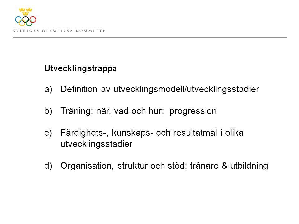 Utvecklingstrappa a)Definition av utvecklingsmodell/utvecklingsstadier b) Träning; när, vad och hur; progression c) Färdighets-, kunskaps- och resultatmål i olika utvecklingsstadier d) Organisation, struktur och stöd; tränare & utbildning