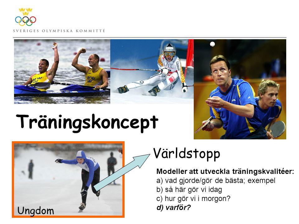 Träningskoncept Modeller att utveckla träningskvalitéer: a) vad gjorde/gör de bästa; exempel b) så här gör vi idag c) hur gör vi i morgon.