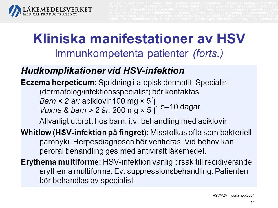 HSV/VZV - workshop 2004 14 Kliniska manifestationer av HSV Immunkompetenta patienter (forts.) Hudkomplikationer vid HSV-infektion Eczema herpeticum: S
