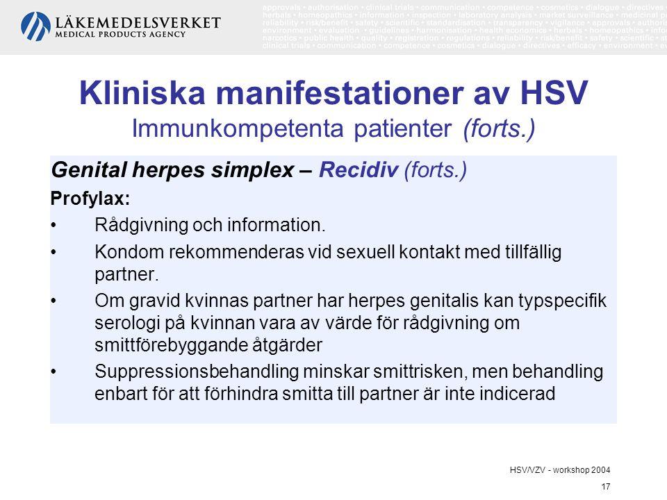 HSV/VZV - workshop 2004 17 Kliniska manifestationer av HSV Immunkompetenta patienter (forts.) Genital herpes simplex – Recidiv (forts.) Profylax: Rådgivning och information.