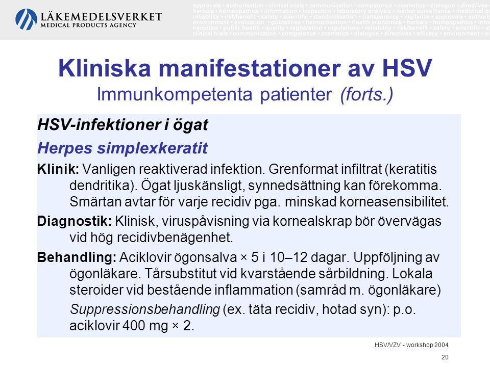 HSV/VZV - workshop 2004 20 Kliniska manifestationer av HSV Immunkompetenta patienter (forts.) HSV-infektioner i ögat Herpes simplexkeratit Klinik: Vanligen reaktiverad infektion.