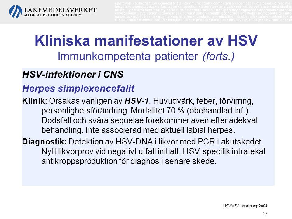 HSV/VZV - workshop 2004 23 Kliniska manifestationer av HSV Immunkompetenta patienter (forts.) HSV-infektioner i CNS Herpes simplexencefalit Klinik: Orsakas vanligen av HSV-1.