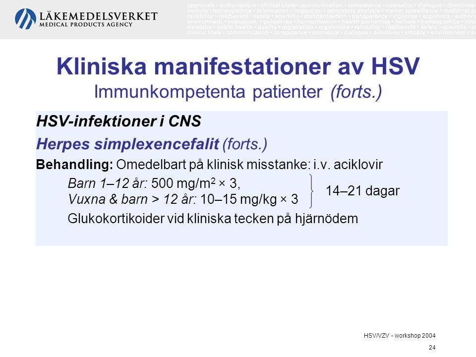 HSV/VZV - workshop 2004 24 Kliniska manifestationer av HSV Immunkompetenta patienter (forts.) HSV-infektioner i CNS Herpes simplexencefalit (forts.) Behandling: Omedelbart på klinisk misstanke: i.v.