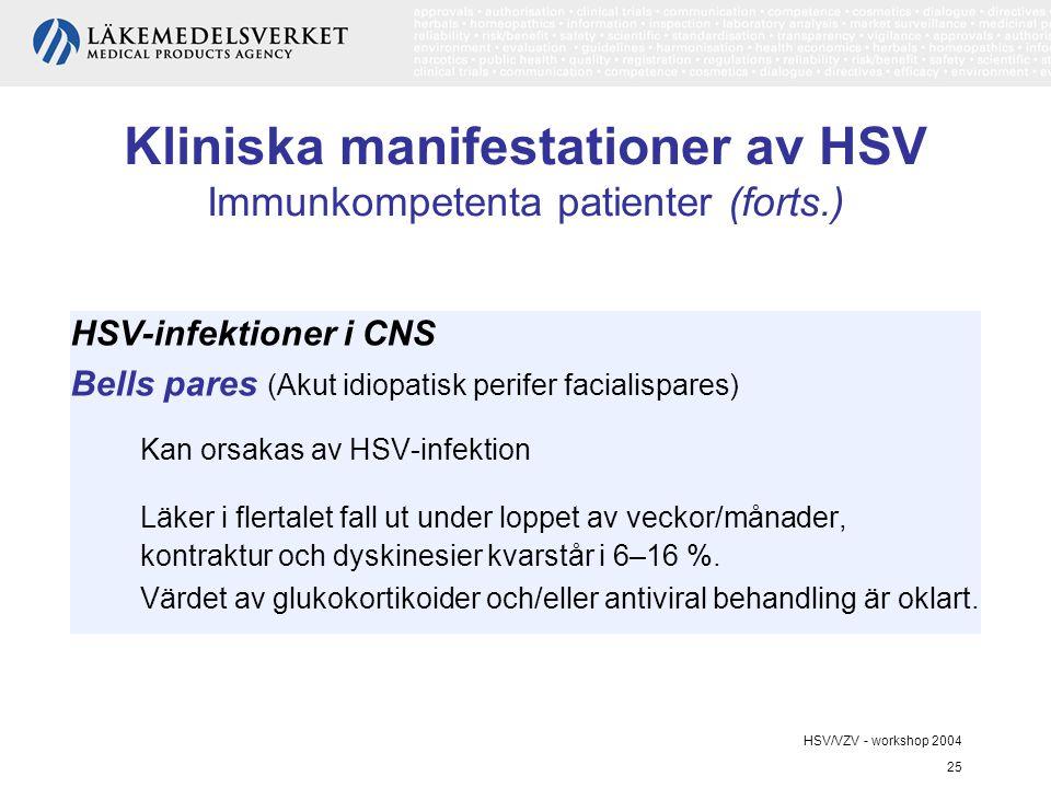 HSV/VZV - workshop 2004 25 Kliniska manifestationer av HSV Immunkompetenta patienter (forts.) HSV-infektioner i CNS Bells pares (Akut idiopatisk perifer facialispares) Kan orsakas av HSV-infektion Läker i flertalet fall ut under loppet av veckor/månader, kontraktur och dyskinesier kvarstår i 6–16 %.
