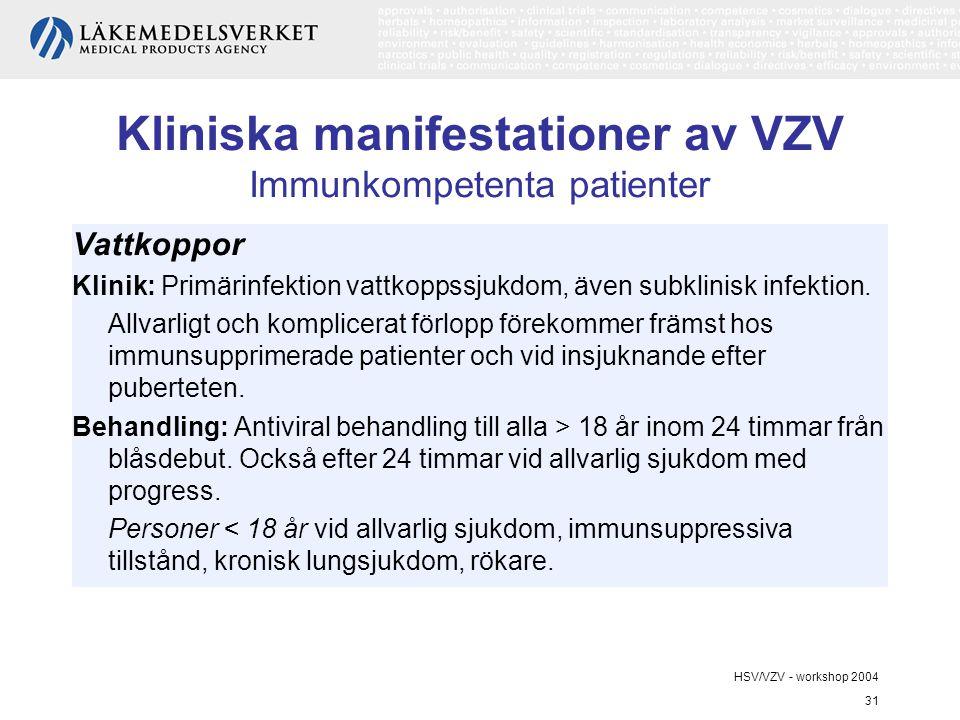 HSV/VZV - workshop 2004 31 Kliniska manifestationer av VZV Immunkompetenta patienter Vattkoppor Klinik: Primärinfektion vattkoppssjukdom, även subklinisk infektion.