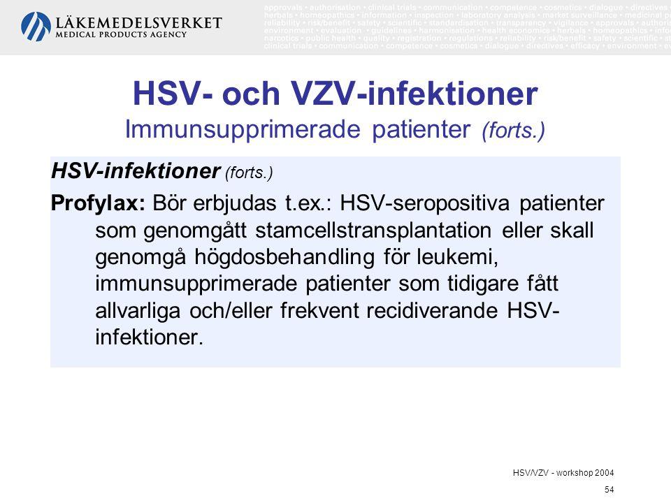 HSV/VZV - workshop 2004 54 HSV- och VZV-infektioner Immunsupprimerade patienter (forts.) HSV-infektioner (forts.) Profylax: Bör erbjudas t.ex.: HSV-seropositiva patienter som genomgått stamcellstransplantation eller skall genomgå högdosbehandling för leukemi, immunsupprimerade patienter som tidigare fått allvarliga och/eller frekvent recidiverande HSV- infektioner.