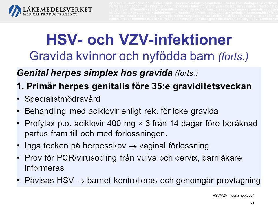 HSV/VZV - workshop 2004 63 HSV- och VZV-infektioner Gravida kvinnor och nyfödda barn (forts.) Genital herpes simplex hos gravida (forts.) 1.