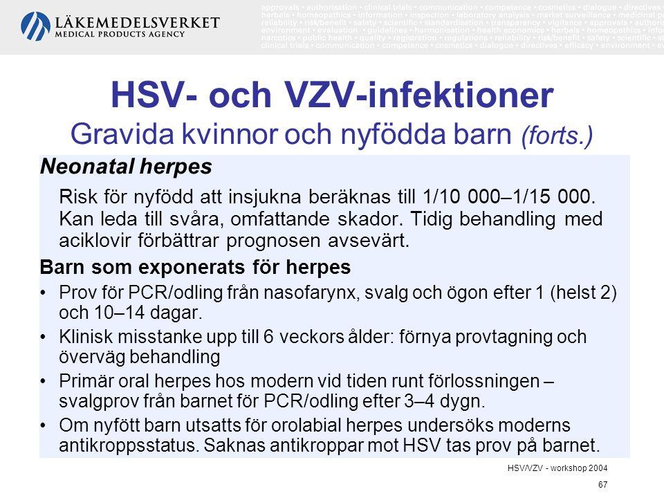 HSV/VZV - workshop 2004 67 HSV- och VZV-infektioner Gravida kvinnor och nyfödda barn (forts.) Neonatal herpes Risk för nyfödd att insjukna beräknas till 1/10 000–1/15 000.
