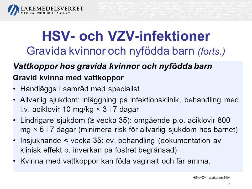 HSV/VZV - workshop 2004 71 HSV- och VZV-infektioner Gravida kvinnor och nyfödda barn (forts.) Vattkoppor hos gravida kvinnor och nyfödda barn Gravid kvinna med vattkoppor Handläggs i samråd med specialist Allvarlig sjukdom: inläggning på infektionsklinik, behandling med i.v.