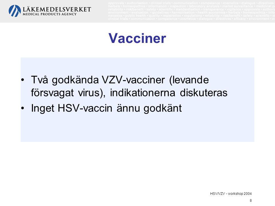 HSV/VZV - workshop 2004 8 Vacciner Två godkända VZV-vacciner (levande försvagat virus), indikationerna diskuteras Inget HSV-vaccin ännu godkänt