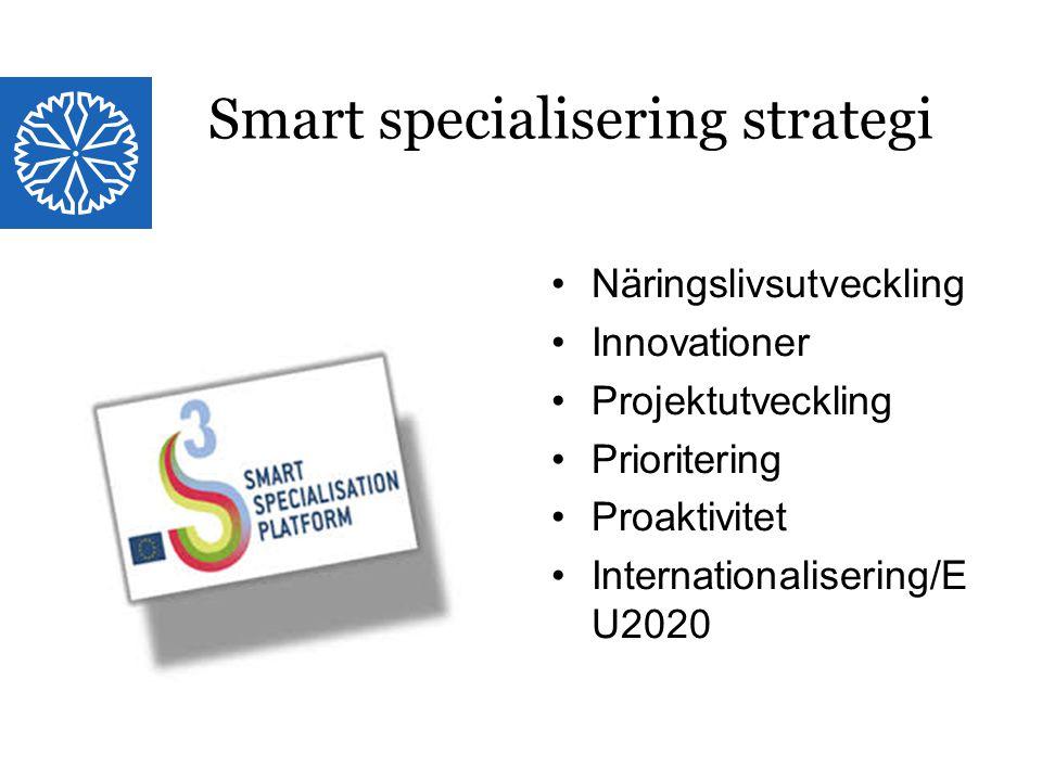 Landstinget i Östergötland Näringslivsutveckling Innovationer Projektutveckling Prioritering Proaktivitet Internationalisering/E U2020 Smart specialisering strategi