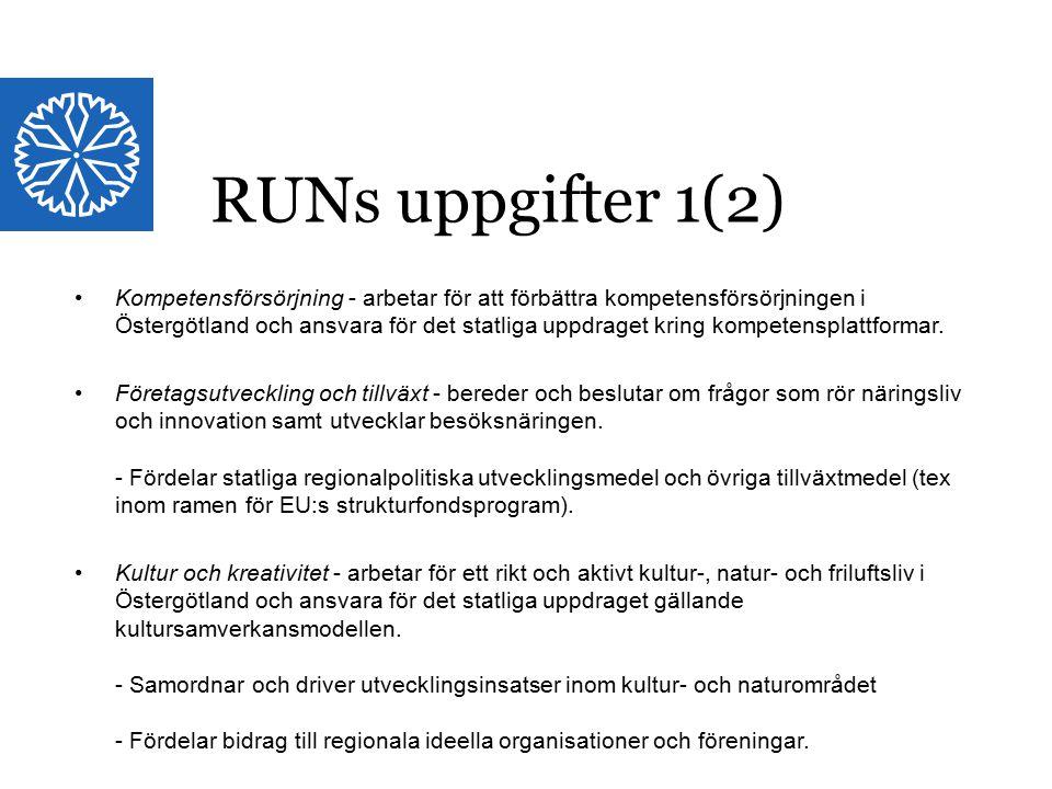 Landstinget i Östergötland RUNs uppgifter 1(2) Kompetensförsörjning - arbetar för att förbättra kompetensförsörjningen i Östergötland och ansvara för det statliga uppdraget kring kompetensplattformar.