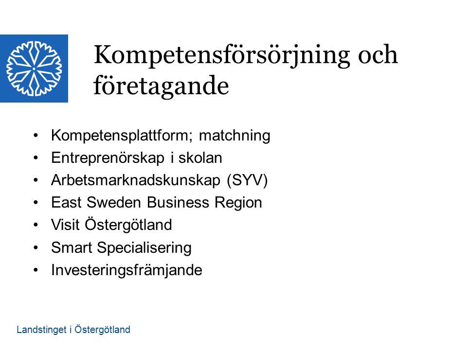 Landstinget i Östergötland Kompetensplattform; matchning Entreprenörskap i skolan Arbetsmarknadskunskap (SYV) East Sweden Business Region Visit Östergötland Smart Specialisering Investeringsfrämjande Kompetensförsörjning och företagande