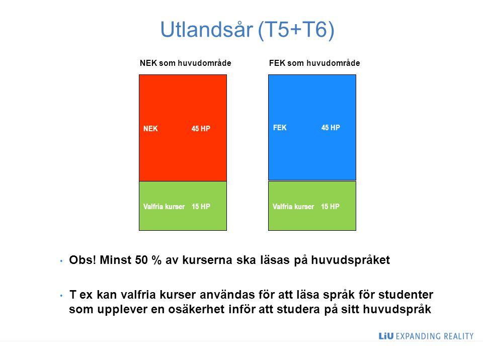 2 Utlandsår (T5+T6) NEK 45 HP Valfria kurser15 HP Obs.