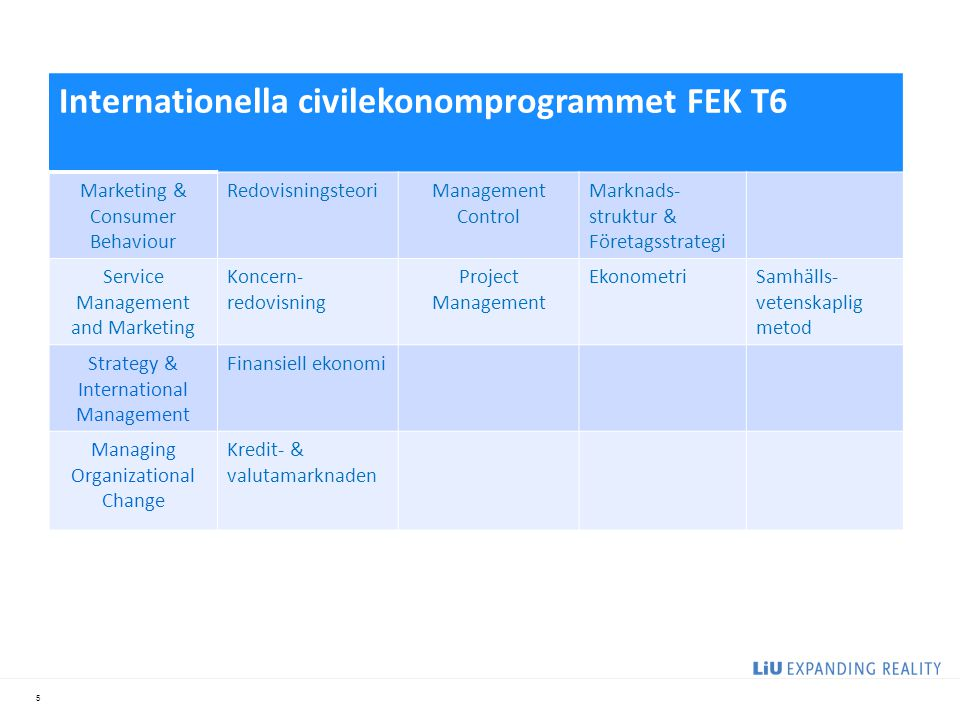 5 Internationella civilekonomprogrammet FEK T6 Marketing & Consumer Behaviour RedovisningsteoriManagement Control Marknads- struktur & Företagsstrategi Service Management and Marketing Koncern- redovisning Project Management EkonometriSamhälls- vetenskaplig metod Strategy & International Management Finansiell ekonomi Managing Organizational Change Kredit- & valutamarknaden