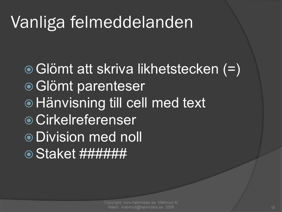 Vanliga felmeddelanden  Glömt att skriva likhetstecken (=)  Glömt parenteser  Hänvisning till cell med text  Cirkelreferenser  Division med noll  Staket ###### 19 Copyright, www.hakimdata.se, Mahmud Al Hakim, mahmud@hakimdata.se, 2009
