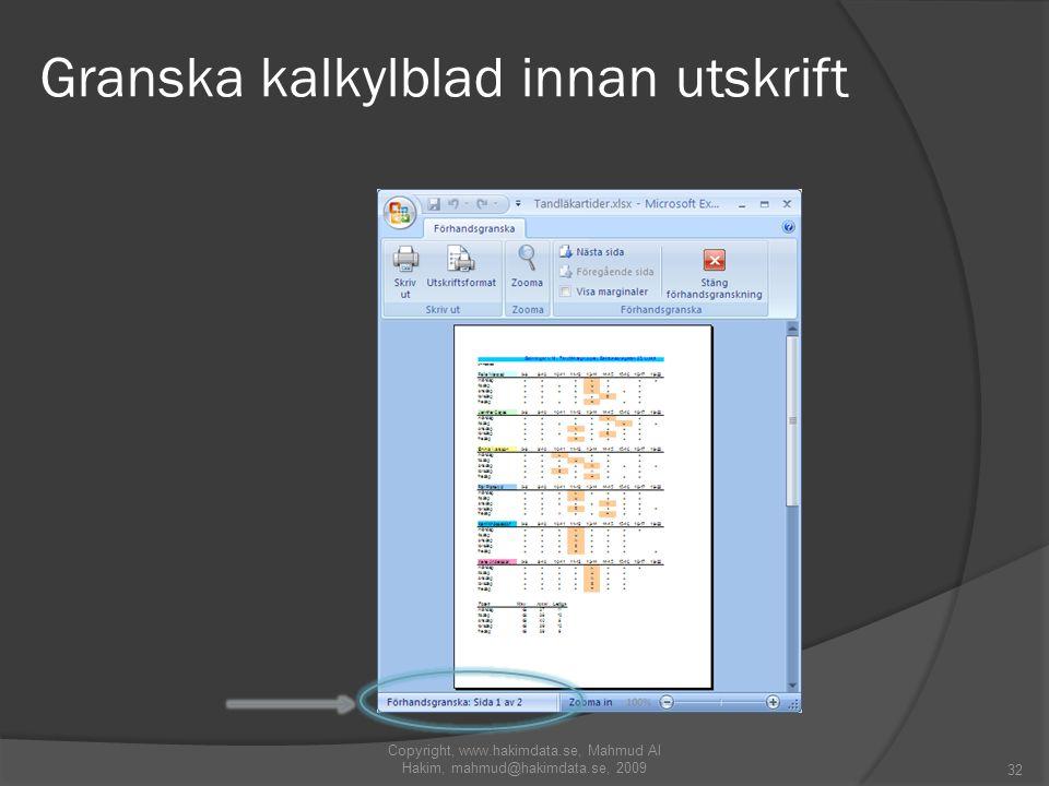 Granska kalkylblad innan utskrift 32 Copyright, www.hakimdata.se, Mahmud Al Hakim, mahmud@hakimdata.se, 2009