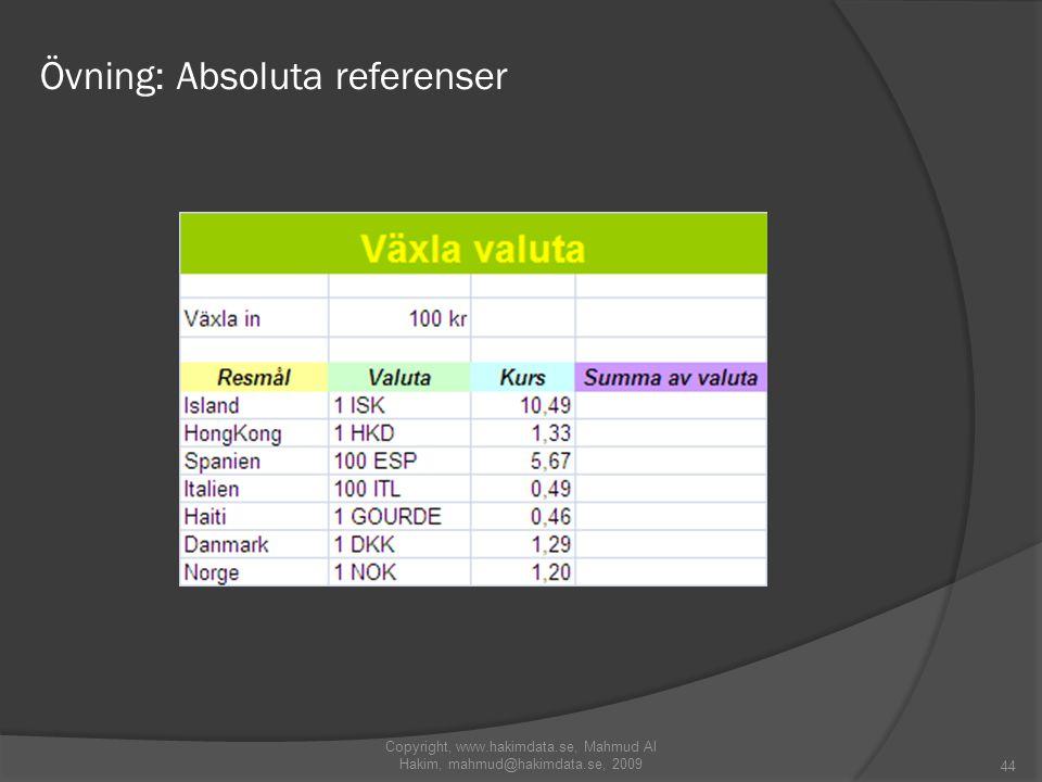 Övning: Absoluta referenser 44 Copyright, www.hakimdata.se, Mahmud Al Hakim, mahmud@hakimdata.se, 2009
