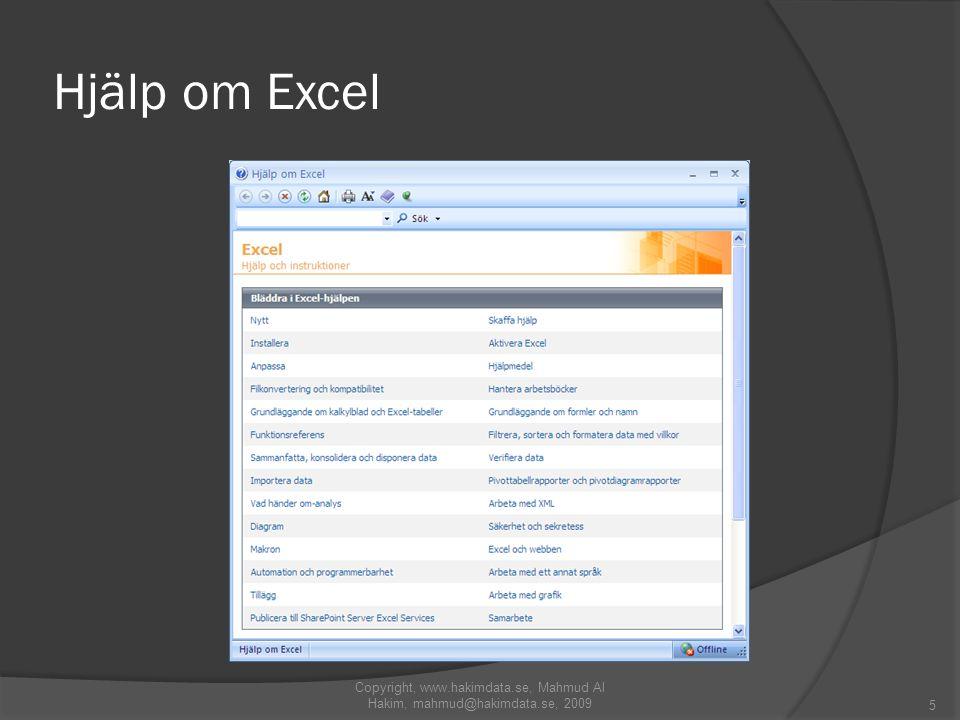 Hjälp om Excel Copyright, www.hakimdata.se, Mahmud Al Hakim, mahmud@hakimdata.se, 2009 5
