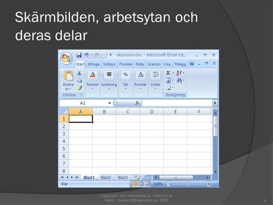Skärmbilden, arbetsytan och deras delar Copyright, www.hakimdata.se, Mahmud Al Hakim, mahmud@hakimdata.se, 2009 6