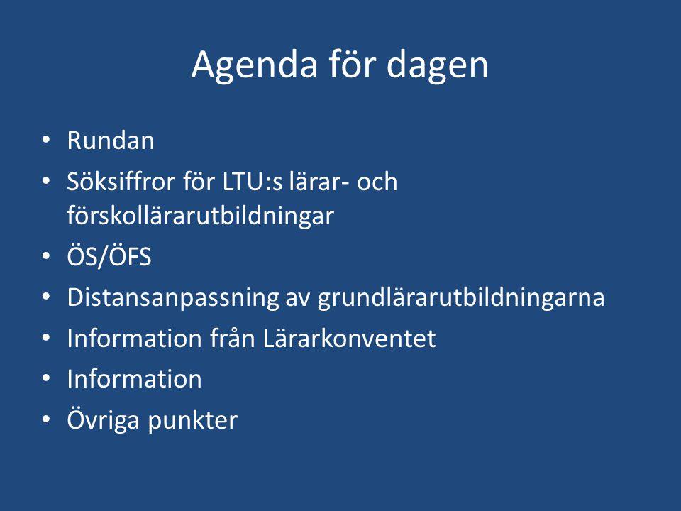 Agenda för dagen Rundan Söksiffror för LTU:s lärar- och förskollärarutbildningar ÖS/ÖFS Distansanpassning av grundlärarutbildningarna Information från