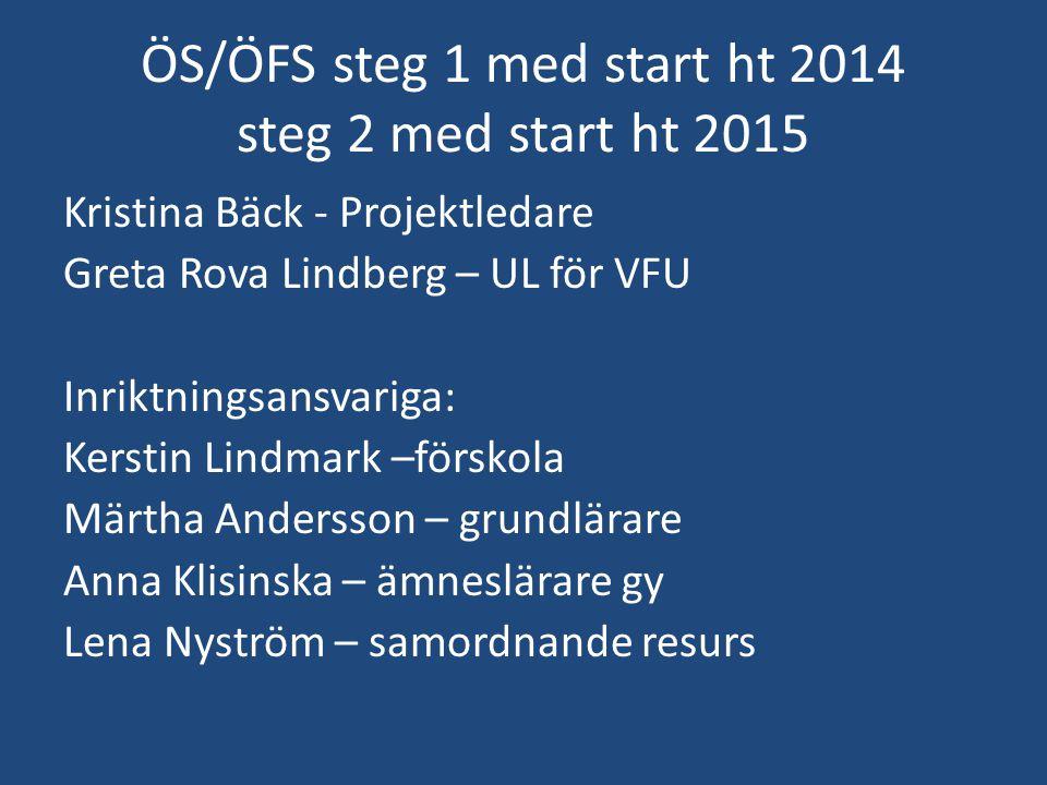ÖS/ÖFS steg 1 med start ht 2014 steg 2 med start ht 2015 Kristina Bäck - Projektledare Greta Rova Lindberg – UL för VFU Inriktningsansvariga: Kerstin