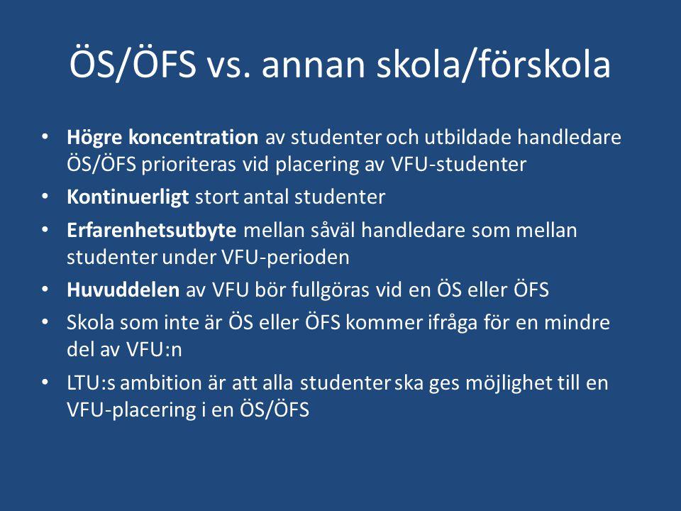Information Förändringar i personalstyrkan vi LTU (examinator för ämneslärare VFU 1, 2 Anna Klisinska och VFU 3 Lena Manderstedt) Utlands –VFU (VFU 2, stort intresse, LTU uppmuntrar internationalisering) Skolförlagda uppgifter i termin 1/jfr fältstudier Inskanning av bedömningsunderlag(färg, ej klammer) Alla kurser med skarpa förkunskapskrav (VFU och examensarbeten) ska sökas individuellt av studenterna (antagning.se) Centrumbildning (ansökan inne hos rektor) UKÄ granskar VFU (vt 15-ht 15) Terminsplan vt 15 Rätten att ta ut examen (i LP 01-10 kvarstår till 2021) VFU-avtal och tilläggsavtal för ÖS/ÖFS VFU-föreläsningar
