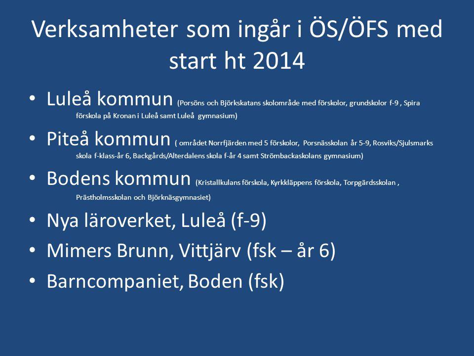 Verksamheter som ingår i ÖS/ÖFS med start ht 2014 Luleå kommun (Porsöns och Björkskatans skolområde med förskolor, grundskolor f-9, Spira förskola på