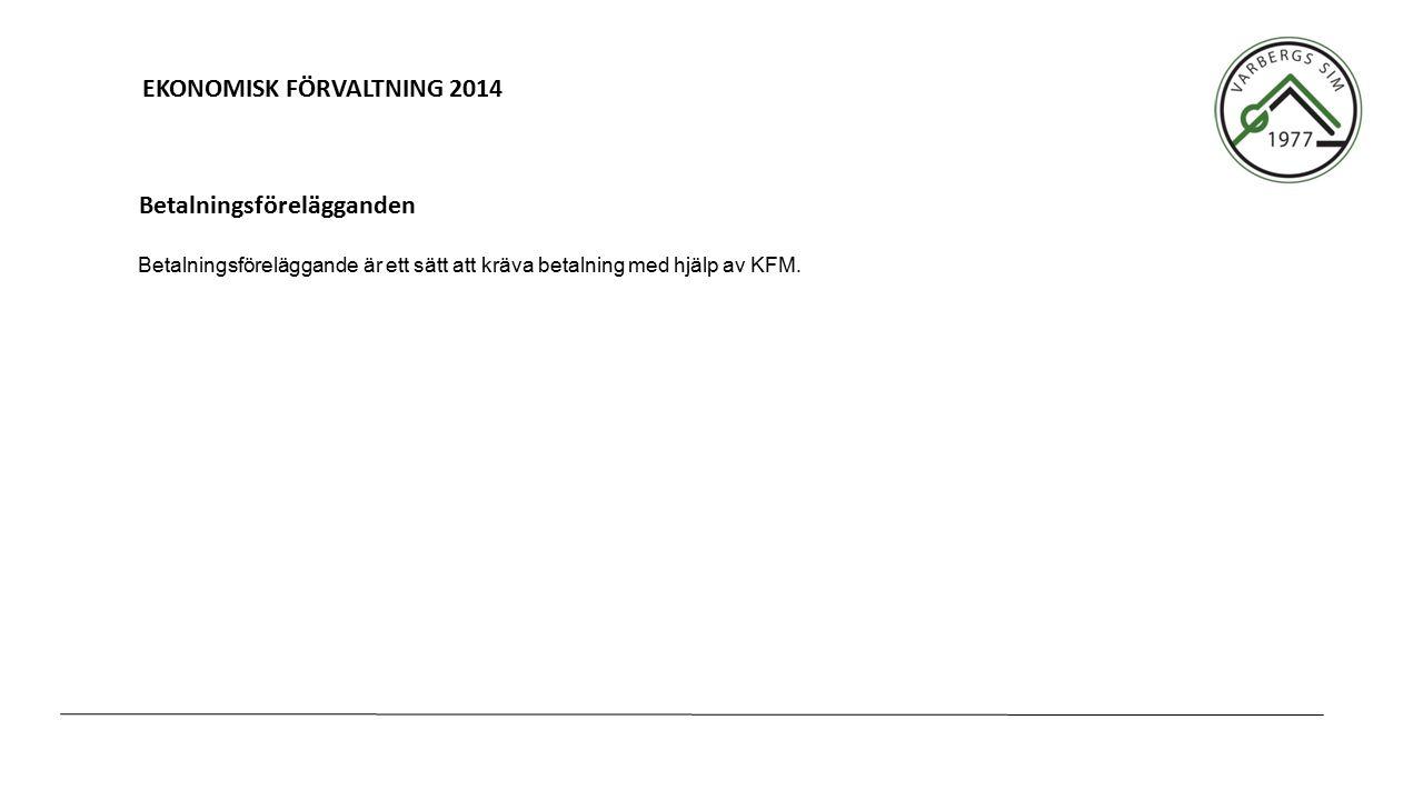 EKONOMISK FÖRVALTNING 2014 Betalningsföreläggande är ett sätt att kräva betalning med hjälp av KFM. Betalningsförelägganden