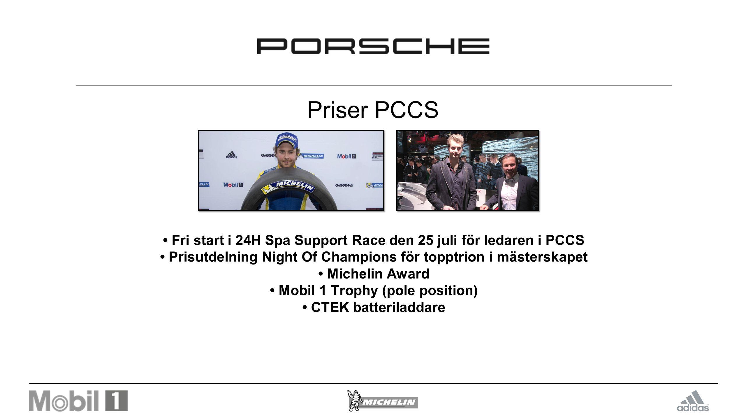 Priser PCCS Fri start i 24H Spa Support Race den 25 juli för ledaren i PCCS Prisutdelning Night Of Champions för topptrion i mästerskapet Michelin Award Mobil 1 Trophy (pole position) CTEK batteriladdare
