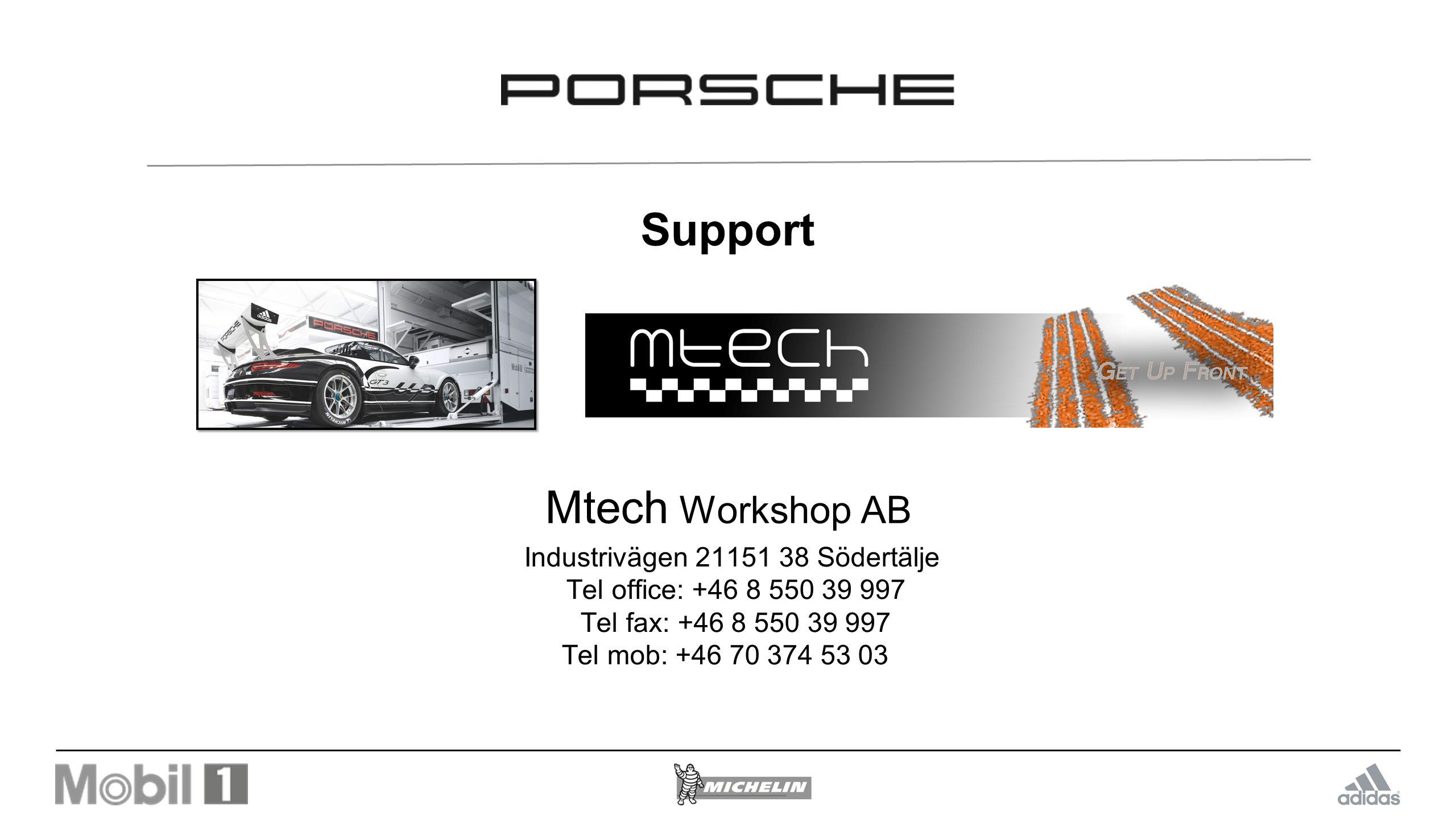 Support Mtech Workshop AB Industrivägen 21151 38 Södertälje Tel office: +46 8 550 39 997 Tel fax: +46 8 550 39 997 Tel mob: +46 70 374 53 03