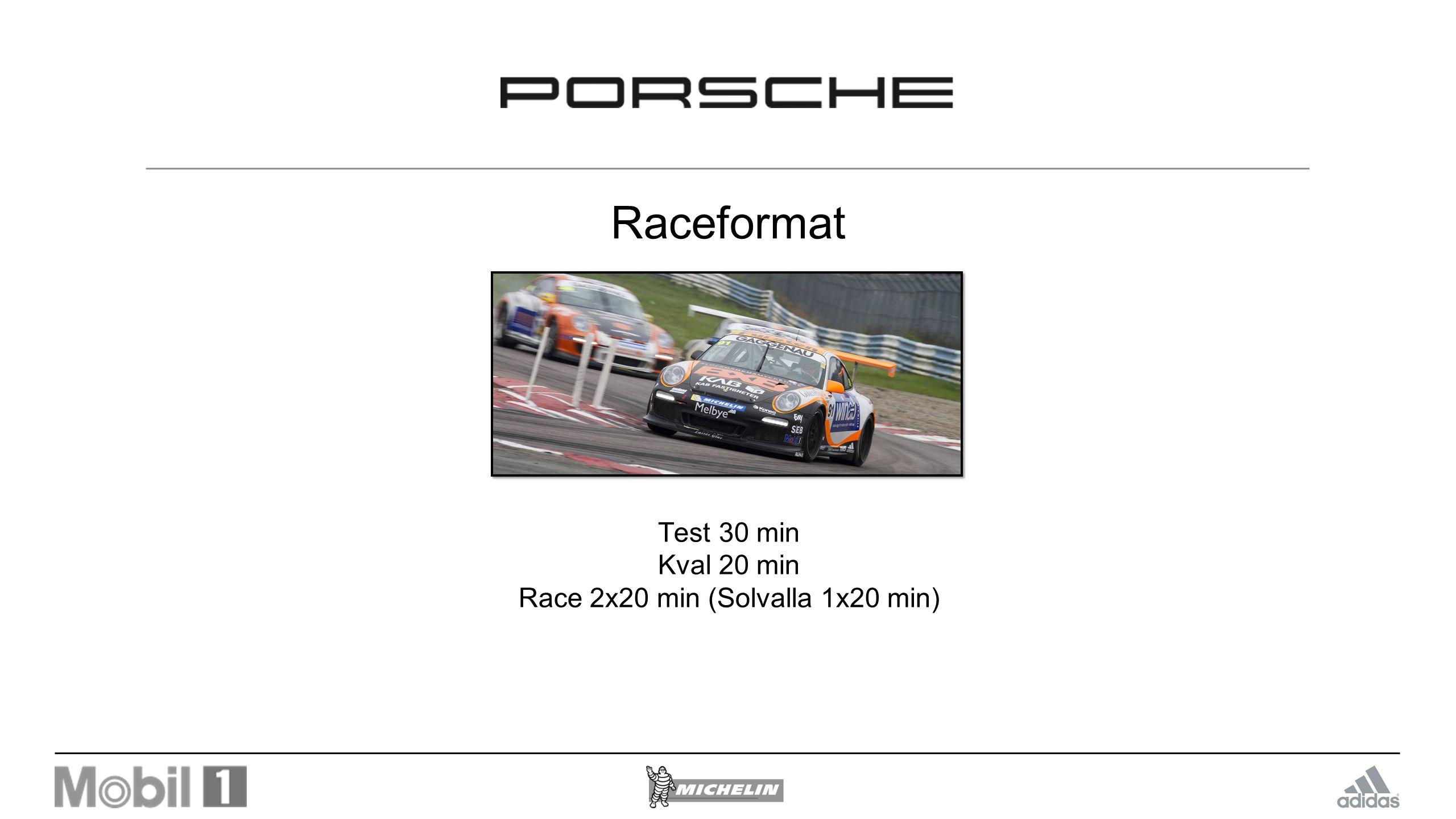 Raceformat Test 30 min Kval 20 min Race 2x20 min (Solvalla 1x20 min)