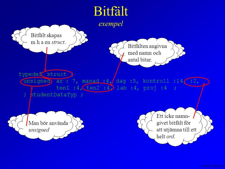 Anders Sjögren Bitfält exempel typedefstruct { unsignedar: 7, manad :4, dag :5, kontroll :14, :2, ten1 :4, ten2 :4, lab :4, proj :4 ; } studentDataTyp ; Man bör använda unsigned Bitfälten angivna med namn och antal bitar.