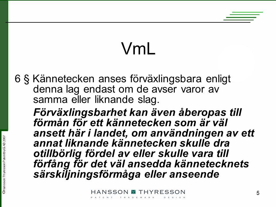 © Hansson Thyresson Patentbyrå AB 2007 5 VmL 6 § Kännetecken anses förväxlingsbara enligt denna lag endast om de avser varor av samma eller liknande s