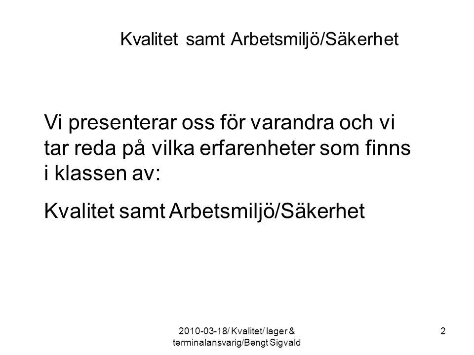 Kraven Dokumentationen Verkligheten Utförandet 432010-03-18/ Kvalitet/ lager & terminalansvarig/Bengt Sigvald