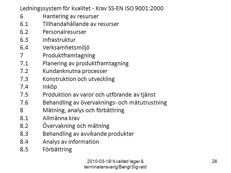 2010-03-18/ Kvalitet/ lager & terminalansvarig/Bengt Sigvald 26 Ledningssystem för kvalitet - Krav SS-EN ISO 9001:2000 6Hantering av resurser 6.1Tillh