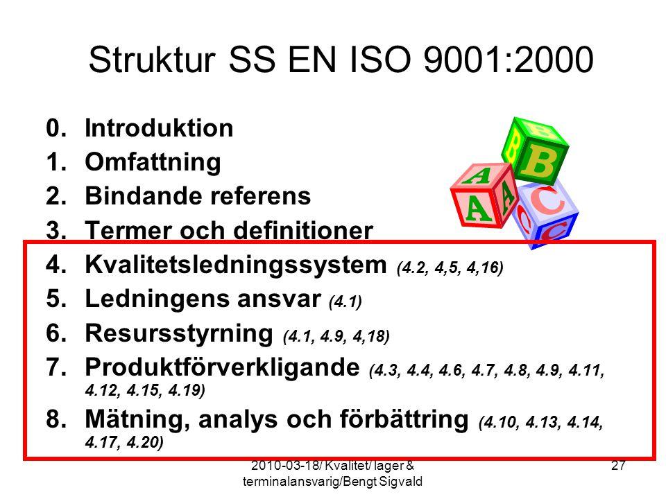 Struktur SS EN ISO 9001:2000 0. Introduktion 1.Omfattning 2.Bindande referens 3.Termer och definitioner 4.Kvalitetsledningssystem (4.2, 4,5, 4,16) 5.L