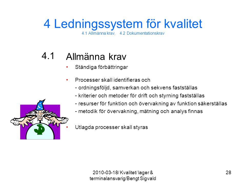 4 Ledningssystem för kvalitet 4.1 Allmänna krav, 4.2 Dokumentationskrav 4.1 Allmänna krav Ständiga förbättringar Processer skall identifieras och - or