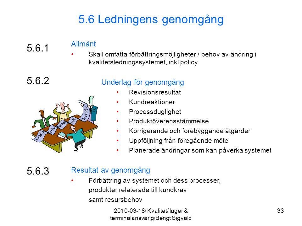 5.6.1 Allmänt Skall omfatta förbättringsmöjligheter / behov av ändring i kvalitetsledningssystemet, inkl policy Underlag för genomgång Revisionsresult