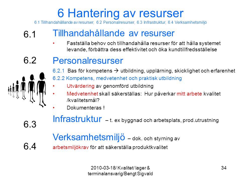 6.1 Tillhandahållande av resurser Fastställa behov och tillhandahålla resurser för att hålla systemet levande, förbättra dess effektivitet och öka kun
