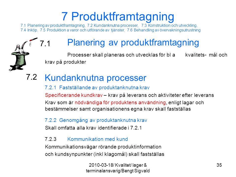 Planering av produktframtagning Processer skall planeras och utvecklas för bl akvalitets- mål och krav på produkter Kundanknutna processer 7.2.1 Fasts